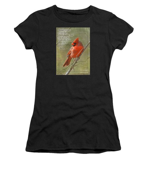 Male Cardinal On Twigs With Bible Verse Women's T-Shirt (Athletic Fit)