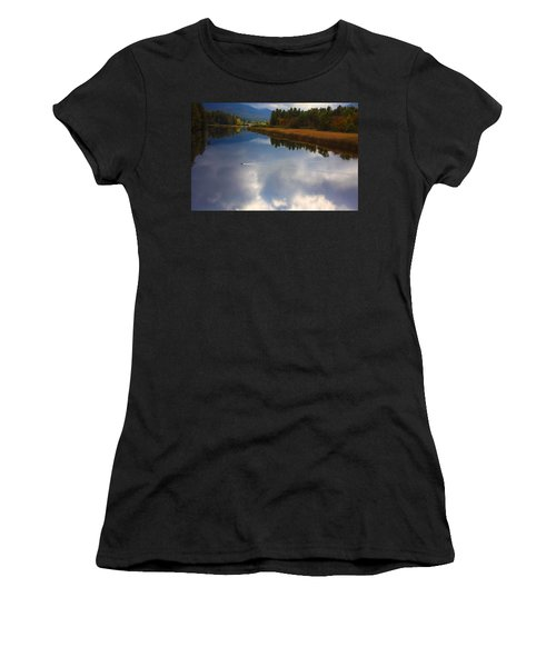 Women's T-Shirt (Junior Cut) featuring the photograph Mallard Duck On Lake In Adirondack Mountains In Autumn by Jerry Cowart