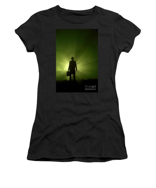 Women's T-Shirt (Junior Cut) featuring the photograph Man In Light Beams by Lee Avison