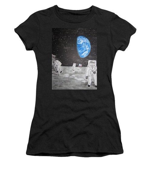 Man On The Moon Women's T-Shirt (Junior Cut) by Kathy Marrs Chandler