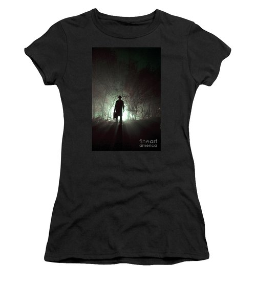 Women's T-Shirt (Junior Cut) featuring the photograph Man Waiting In Fog With Case by Lee Avison
