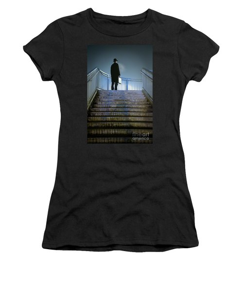 Women's T-Shirt (Junior Cut) featuring the photograph Man With Case At Night On Stairs by Lee Avison