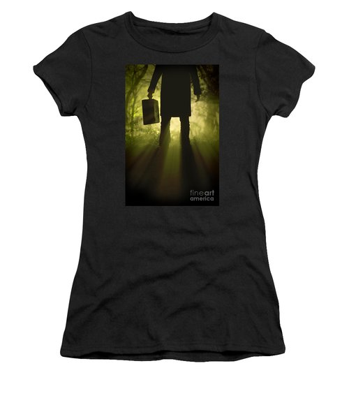 Women's T-Shirt (Junior Cut) featuring the photograph Man With Case In Fog by Lee Avison