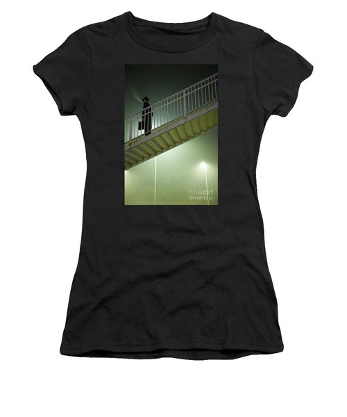 Women's T-Shirt (Junior Cut) featuring the photograph Man With Case On Steps Nighttime by Lee Avison