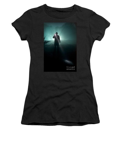 Women's T-Shirt (Junior Cut) featuring the photograph Man With Flashlight  by Lee Avison