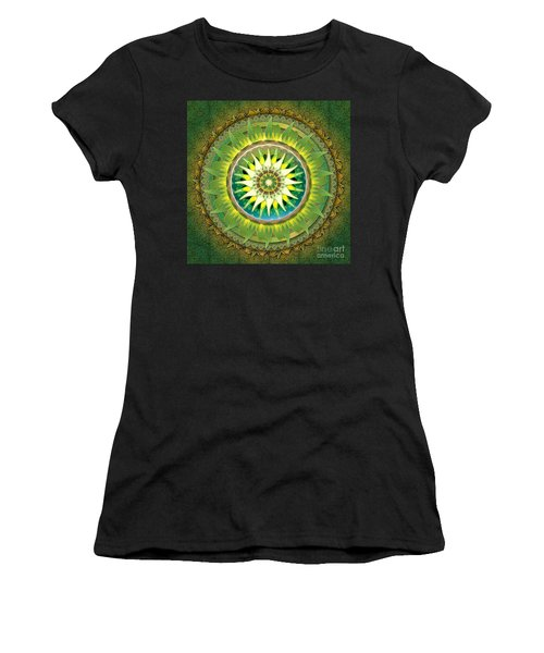 Mandala Green Women's T-Shirt (Athletic Fit)