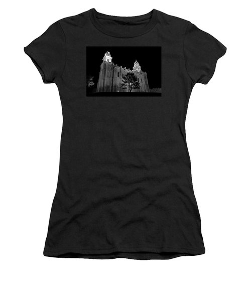 Manti Temple Black And White Women's T-Shirt (Athletic Fit)