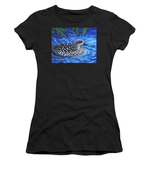 Marbled Teal Duck On The Water Women's T-Shirt (Athletic Fit)