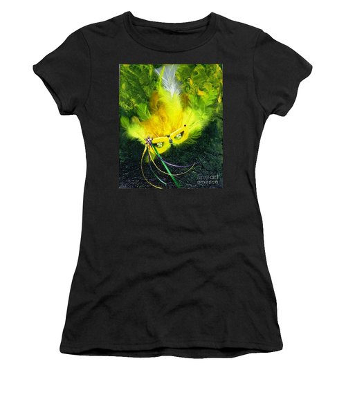 Women's T-Shirt (Junior Cut) featuring the painting Mardi Gras On Green by Alys Caviness-Gober
