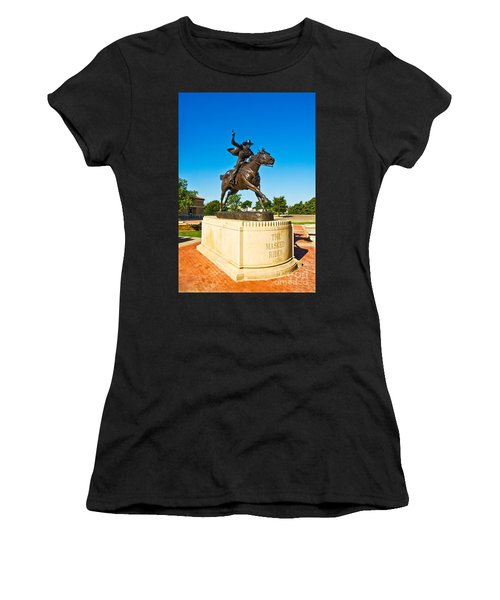 Women's T-Shirt featuring the photograph Masked Rider Statue by Mae Wertz