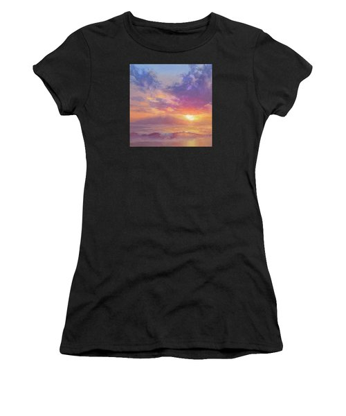 Maui To Molokai Hawaiian Sunset Beach And Ocean Impressionistic Landscape Women's T-Shirt (Athletic Fit)