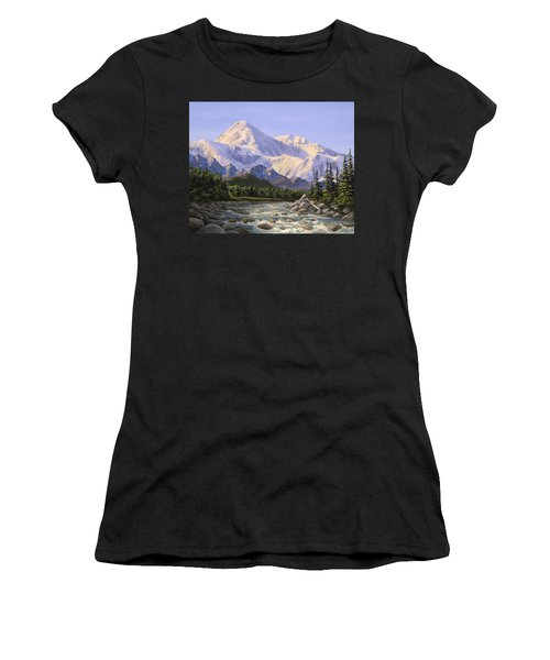 Majestic Denali Mountain Landscape - Alaska Painting - Mountains And River - Wilderness Decor Women's T-Shirt
