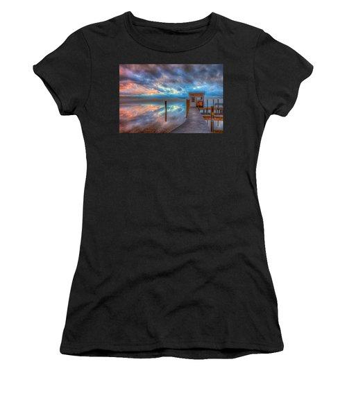 Melvin Village Marina In The Fog Women's T-Shirt