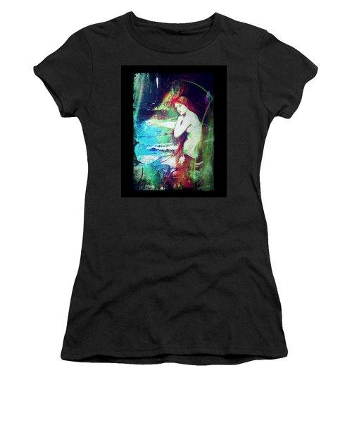 Women's T-Shirt (Junior Cut) featuring the digital art Mermaid Of The Tides by Absinthe Art By Michelle LeAnn Scott