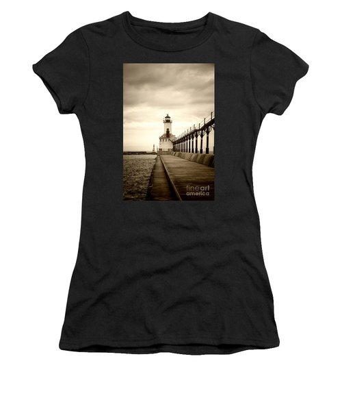 Michigan City Lighthouse Women's T-Shirt (Athletic Fit)