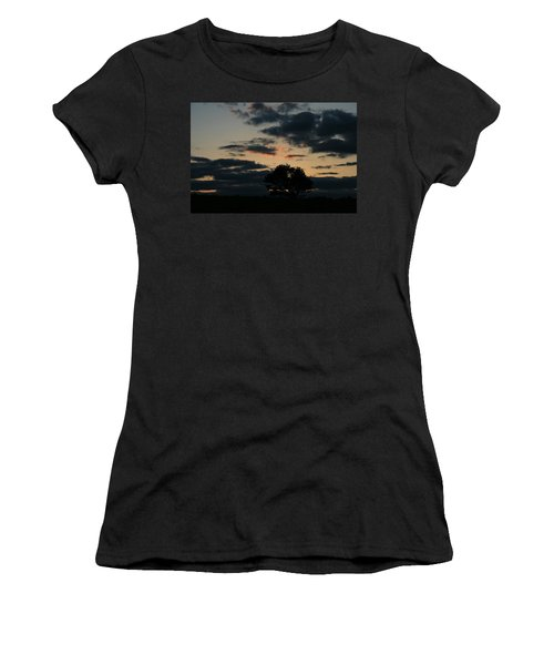 Women's T-Shirt (Junior Cut) featuring the photograph Farm Pasture Midnight Sun  by Neal Eslinger