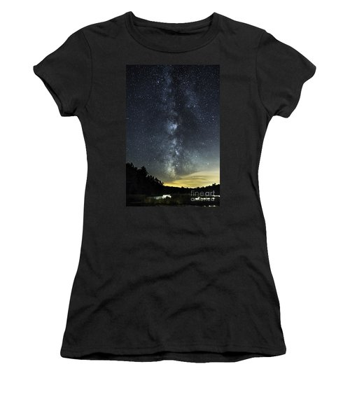 Milky Way Over Beaver Pond In Phippsburg Maine 2 Women's T-Shirt (Athletic Fit)