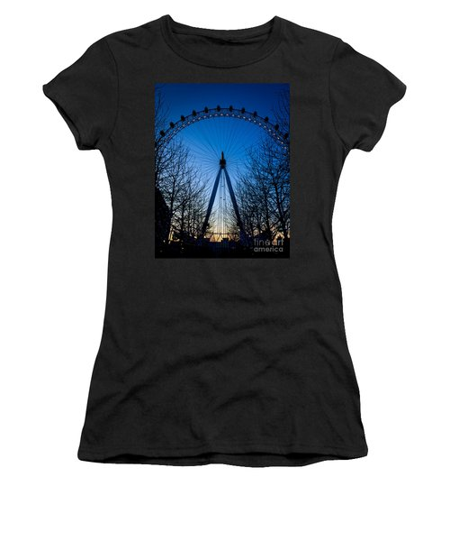 Women's T-Shirt (Junior Cut) featuring the photograph Millennium Eye London At Twilight by Peta Thames
