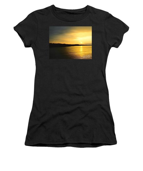 Women's T-Shirt (Junior Cut) featuring the photograph Sunrise Over The Mississippi River Post Hurricane Katrina Chalmette Louisiana Usa by Michael Hoard