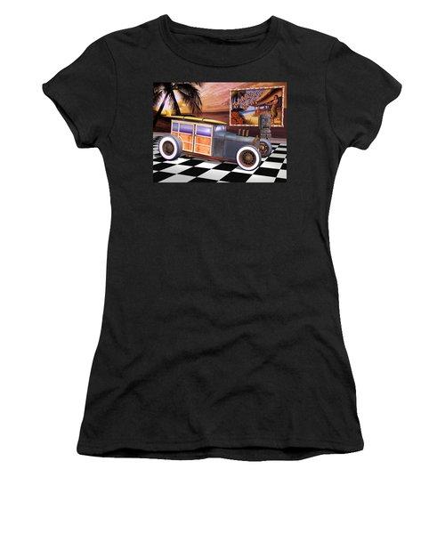 Model T Surf Woody Women's T-Shirt (Junior Cut) by Stuart Swartz