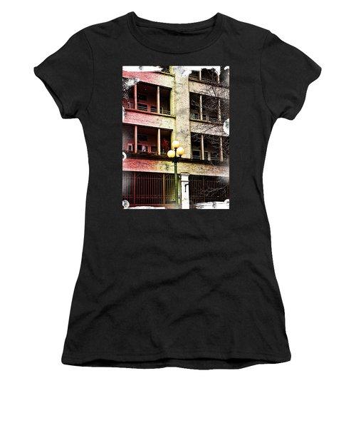 Women's T-Shirt (Junior Cut) featuring the digital art Modern Grungy City Building  by Valerie Garner