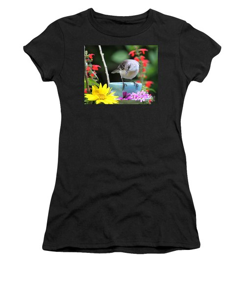 Mockingbird And Teacup Photo Women's T-Shirt (Athletic Fit)