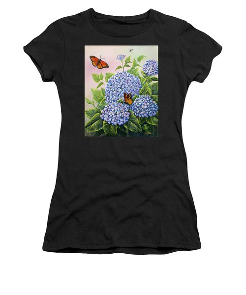 Monarchs And Hydrangeas Women's T-Shirt (Athletic Fit)