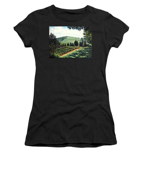 Women's T-Shirt (Junior Cut) featuring the painting Monticello Vegetable Garden by Penny Birch-Williams