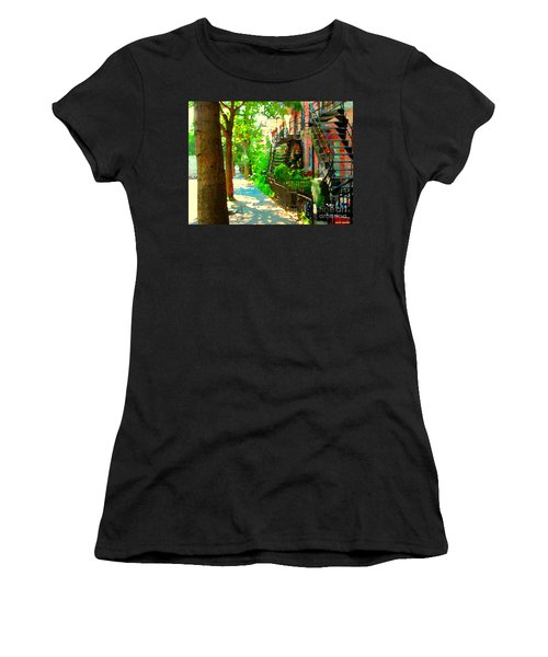 Montreal Art Colorful Winding Staircase Scenes Tree Lined Streets Of Verdun Art By Carole Spandau Women's T-Shirt