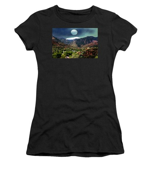 Women's T-Shirt (Junior Cut) featuring the photograph Moon Over Manitou I by Lanita Williams