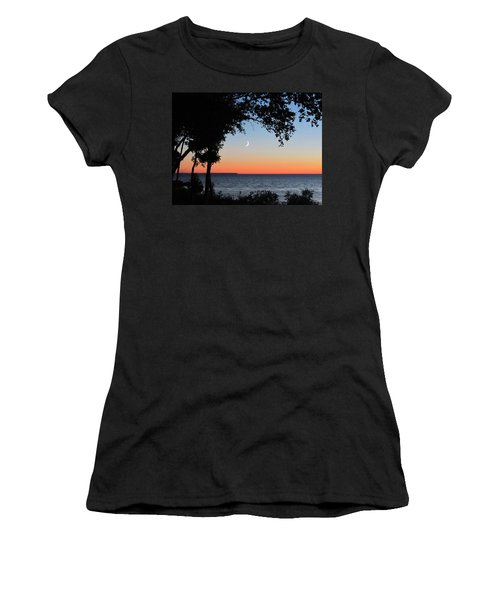 Moon Sliver At Sunset Women's T-Shirt