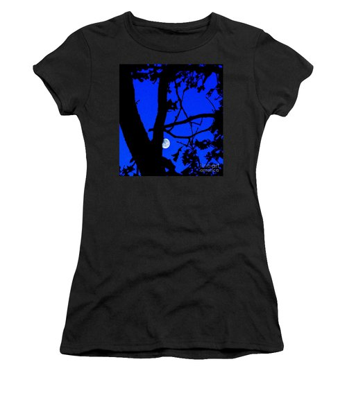 Women's T-Shirt (Junior Cut) featuring the photograph Moon Through Trees 2 by Janette Boyd