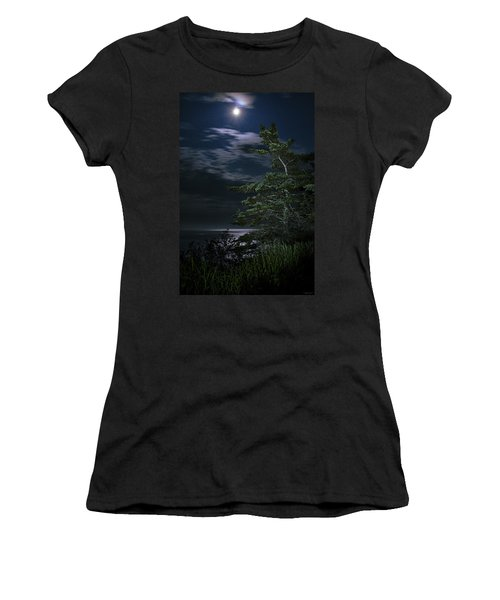 Women's T-Shirt (Junior Cut) featuring the photograph Moonlit Treescape by Marty Saccone