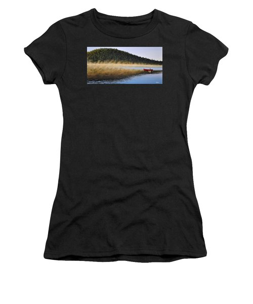 Women's T-Shirt (Junior Cut) featuring the painting Moose Lake Paddle by Kenneth M  Kirsch