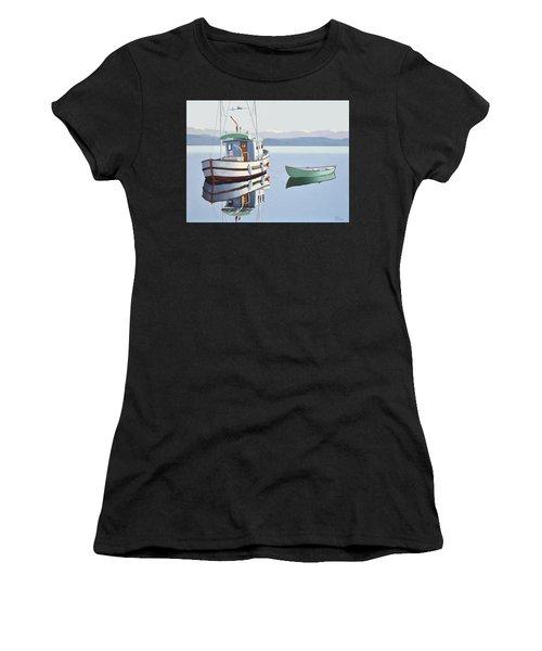 Morning Calm-fishing Boat With Skiff Women's T-Shirt