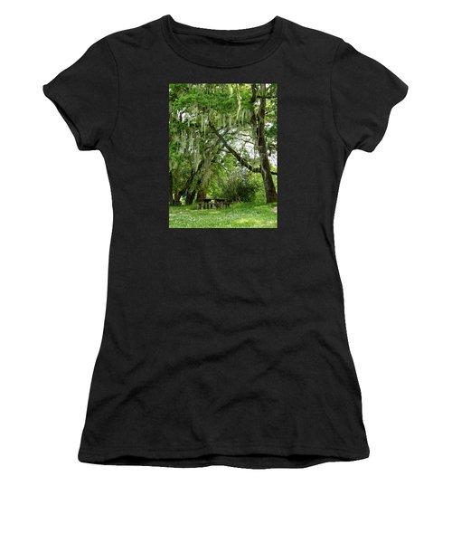 Women's T-Shirt (Junior Cut) featuring the photograph Moss Drapery by VLee Watson