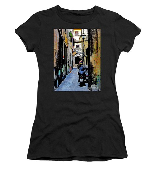 Women's T-Shirt (Junior Cut) featuring the digital art Motorcyle In Florence Alley by Jennie Breeze