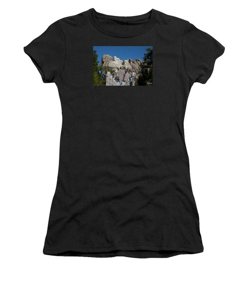 Mount Rushmore Avenue Of Flags Women's T-Shirt (Athletic Fit)