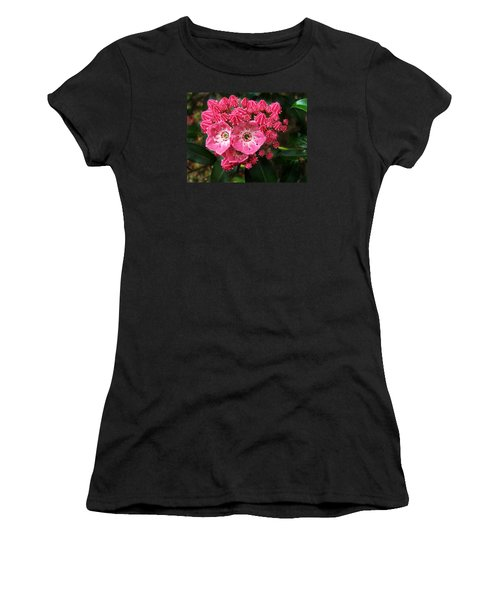 Women's T-Shirt (Junior Cut) featuring the photograph Mountain Laurel ' Olympic Fire ' by William Tanneberger