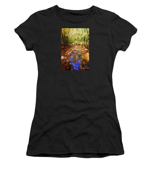 Mountain Stream Covered With Fall Leaves Women's T-Shirt (Athletic Fit)