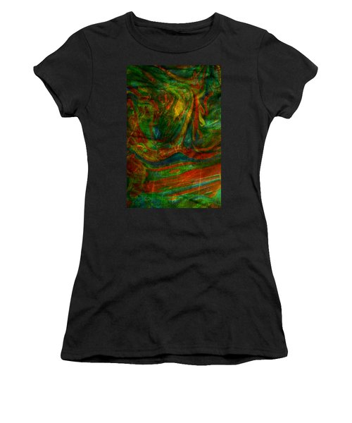 Women's T-Shirt (Junior Cut) featuring the mixed media Mountains In The Rain by Ally  White