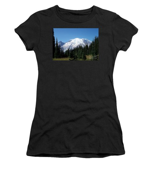 Women's T-Shirt (Junior Cut) featuring the photograph Mt. Rainier In August by Chalet Roome-Rigdon