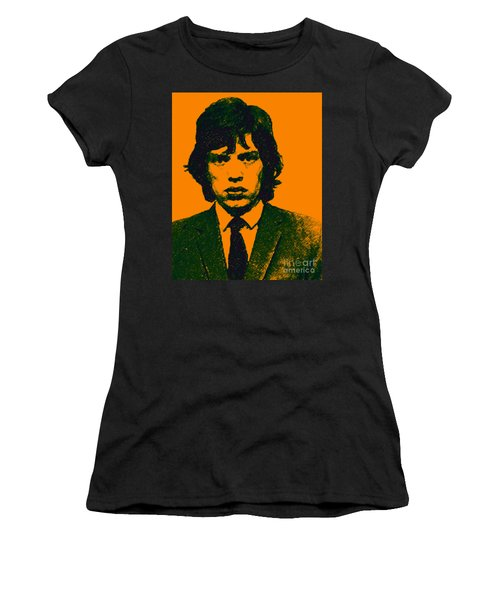 Women's T-Shirt featuring the photograph Mugshot Mick Jagger P0 by Wingsdomain Art and Photography