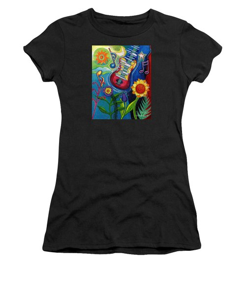 Music On Flowers Women's T-Shirt (Junior Cut) by Genevieve Esson