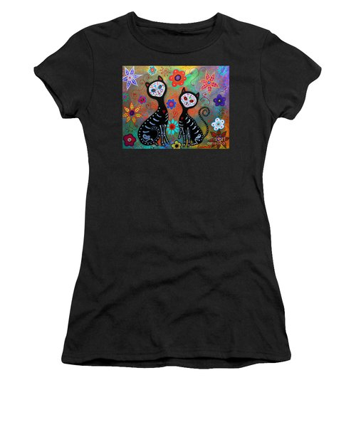 My 2 Cats Dia De Los Muertos Women's T-Shirt