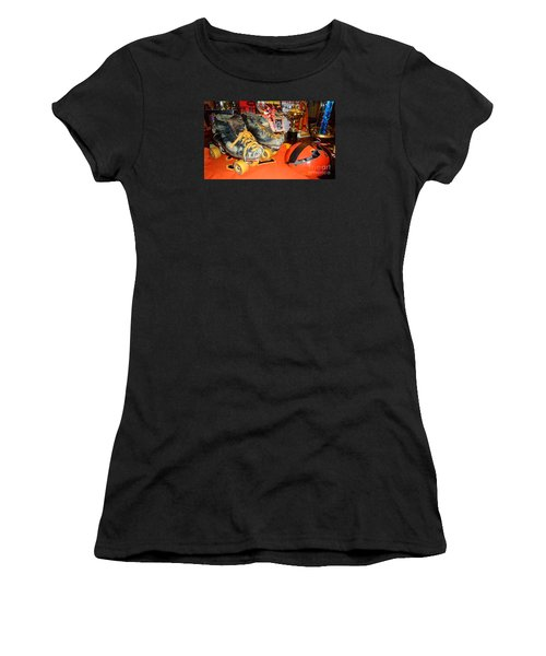 Women's T-Shirt (Junior Cut) featuring the photograph My Battle Scarred Roller Derby Skates And Helmet   by Jim Fitzpatrick