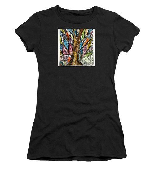 My Happy Watercolor Tree Women's T-Shirt (Athletic Fit)