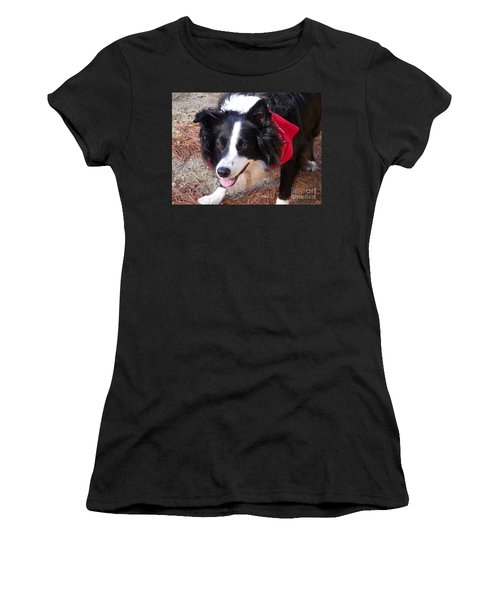 Women's T-Shirt (Junior Cut) featuring the photograph Female Border Collie by Eunice Miller