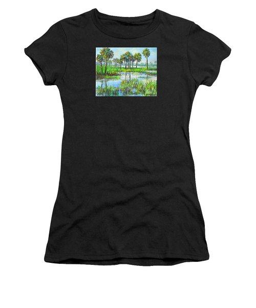Myakka Lake With Palms Women's T-Shirt (Athletic Fit)