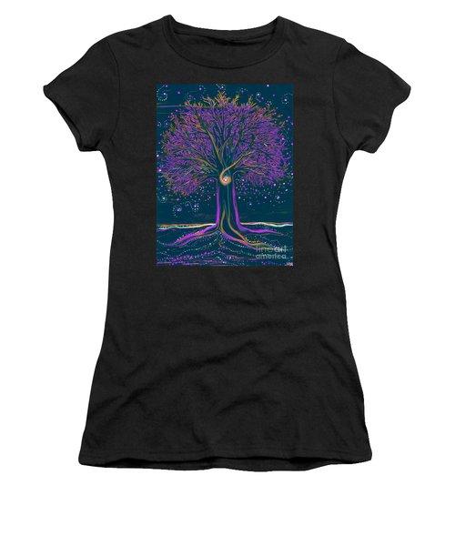 Mystic Spiral Tree 1 Purple Women's T-Shirt (Athletic Fit)